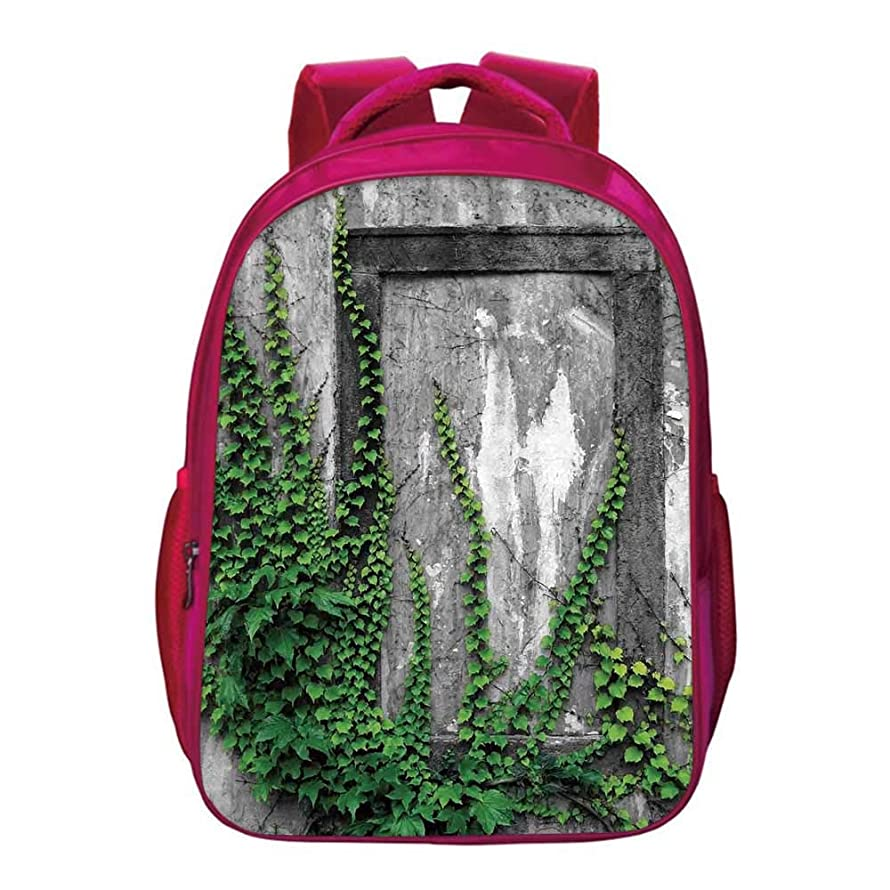 """Mystic House Decor Kids Bookbag,Ivy on Wall with Aged Antique Empty Picture Frame as Window Creative Art for Kids Girls,11.8""""Lx6.3""""Wx15.7""""H"""
