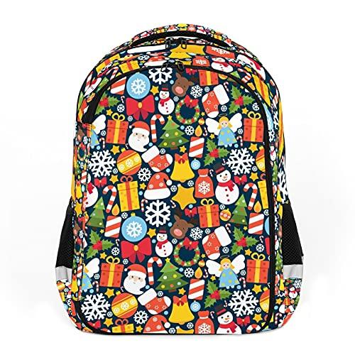 Elementos de dibujos animados de Navidad, decoración colorida perfecta para la escuela y mochilas de viaje, mochilas de estudiantes perfectas para todas las edades