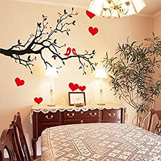 Oren Empower Decorative Branch with Red Hearts Wall Sticker (AY7179)