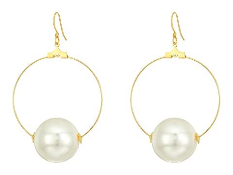 148f72418 Kenneth Jay Lane Gold Hoop with 20mm White Pearl Ball Fishhook Ear Earrings