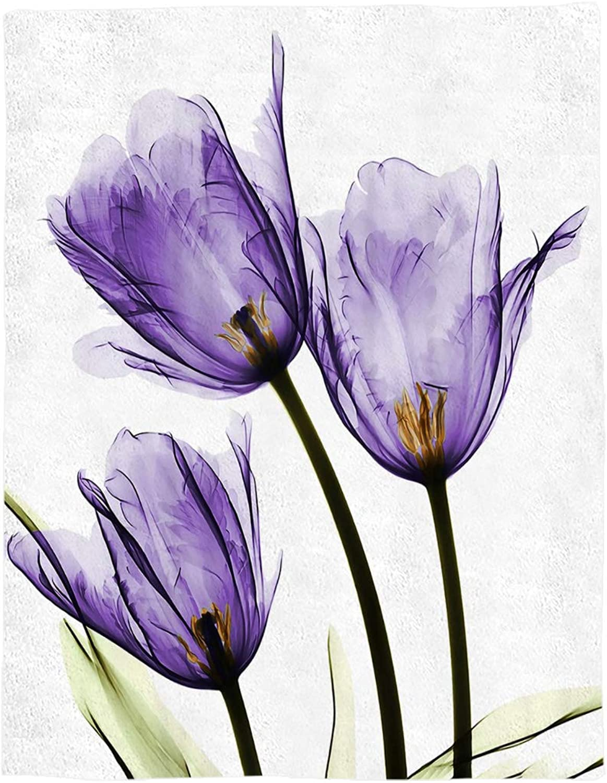 YEHO Art Gallery Flannel Fleece Bed Blanket Soft Throw-Blankets for Adult Kids Girls Boys,Purple Tulip Flower Art Pattern,Lightweight Blankets for Bedroom Living Room Sofa Couch,39x49inch