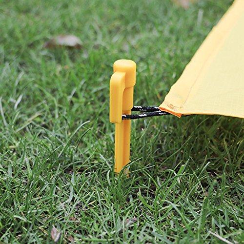 Meijunter 100pcs Jaune Plastique Camping Tarp Tente Clou Enjeux De Plein air Pique-Nique Tapis Tente Piquets