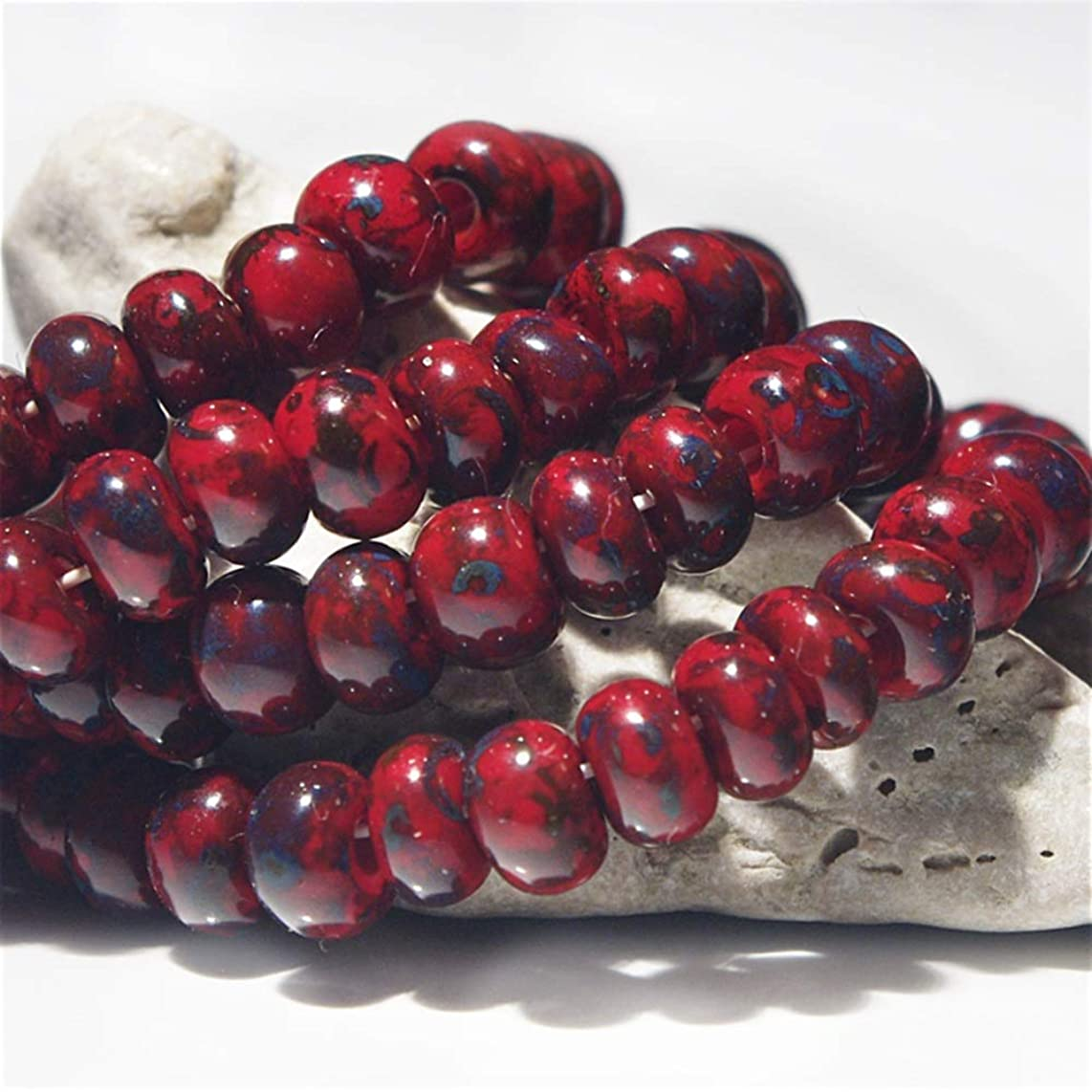 20 g Vinous Red Picasso Travertine 3/0 Czech Glass Seed Beads