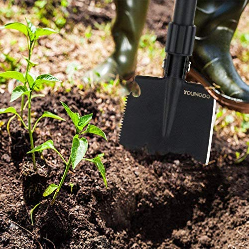 YOUNGDO Pelle Pliante 14 Fonctions, Pelle Pliante Multifonctionnelle pour Couper Branches, Camping, Survie, Randonnée et Jardinage