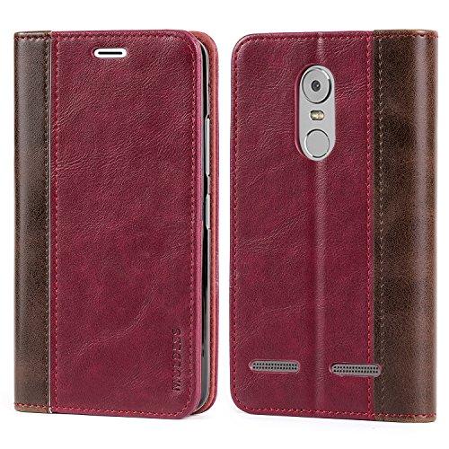 Mulbess Handyhülle für Lenovo K6 Hülle Leder, Lenovo K6 Handy Hüllen, mit BookStyle Flip Handytasche Schutzhülle für Lenovo K6 Hülle, Wein Rot