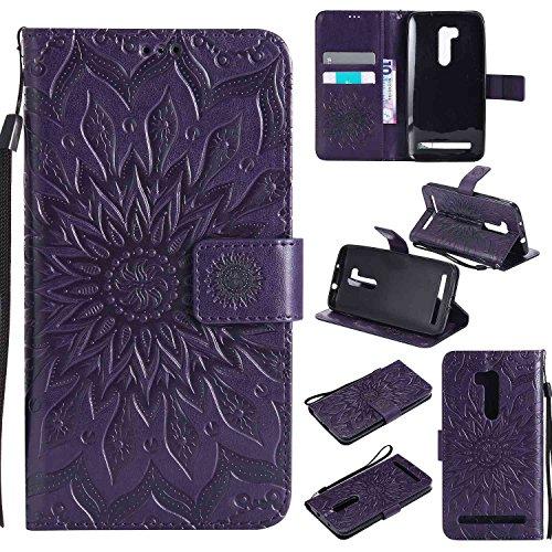 pinlu® PU Leder Tasche Etui Schutzhülle für Wiko Pulp 3G (5 Zoll) Lederhülle Schale Flip Cover Tasche mit Standfunktion Sonnenblume Muster Hülle (Lila)