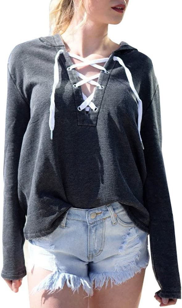 Women Top Realdo Lace Up Pullover Sweatshirt Max 74% OFF Sleeve Hoodie Long We OFFer at cheap prices