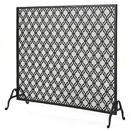 Review Of FF Fireplace Screens Black Large Fire Screens Spark Guard Mesh, Baby Safe Iron Fire Place ...