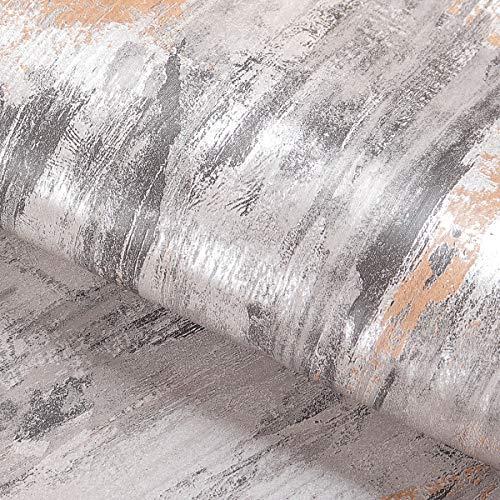 Livelynine Klebefolie Muster Vintage Selbstklebende Tapete Grau Glitzer Tapeten Wohnzimmer Badezimmer Schlafzimmer Modern Möbel Industrial Tapete Betonoptik Silber Folie Kleben Abwaschbare 40CMx2M