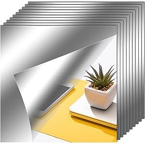 Flexible Mirror Sheets Self Adhesive Non Glass Mirror Tiles Mirror Stickersfor Home Wall Decor (10 Pieces,7.9 x 7.9 Inches)