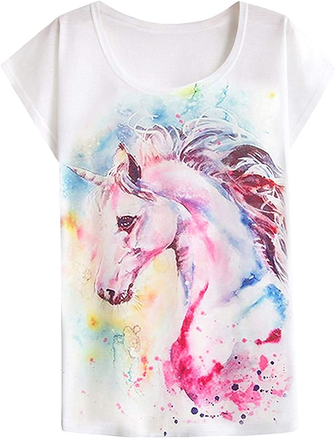 Max sold out 71% OFF futurino Women's Dream Mysterious Horse Sleeve Short Tops Print