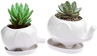 Best Gift Pro Elephant Plant Window Boxes With Tray Set of 2 Cute Elephant Flower Pot,Modern White Ceramic Succulent Planter Pots / Tiny Flower Plant Containers (Style 2) Review
