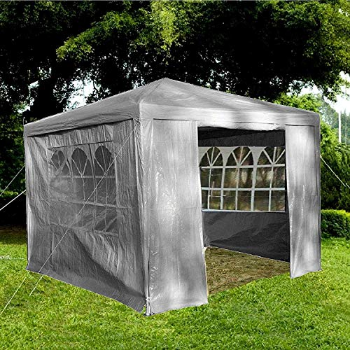 Gr8 Garden Gazebo with Sides Outdoor Waterproof Beach Party Festival Camping Tent Canopy Wedding Marquee Awning Shade 3mx3mx2.45m[Grey]
