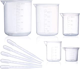بشقاب پلاستیکی پلاستیکی ، 5 اندازه اندازه گیری فرم کم ، اندازه گیری فرمول های پلاستیکی Griffin ، پلی پروپیلن در 500 میلی لیتر ، 250 میلی لیتر ، 100 میلی لیتر ، 50 میلی لیتر ، 25 میلی لیتر برای آزمایشگاه ، آزمایش های علمی با 5 قطره پلاستیک در 3 میلی لیتر
