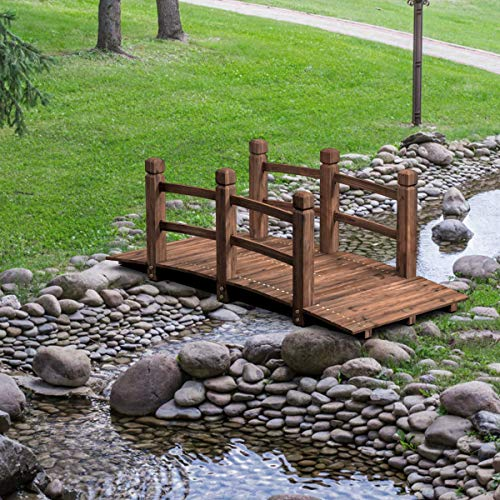 HAPPYGRILL Wooden Garden Bridge Stained Finish Decorative Pond Bridge, 5FT Length