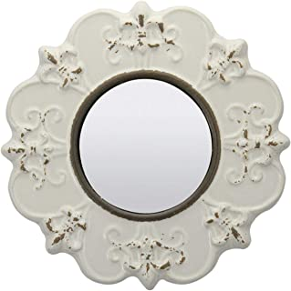 Stonebriar White Round Antique Ceramic Wall Mirror, Vintage Home Décor for Living Room,..