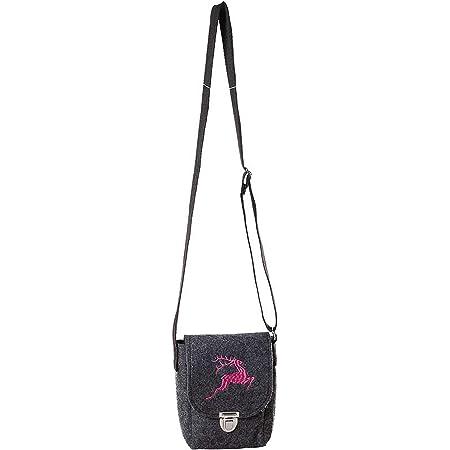 Filztasche Umhängetasche dunkelgrau mit Hirsch pink bestickt 13x17 cm