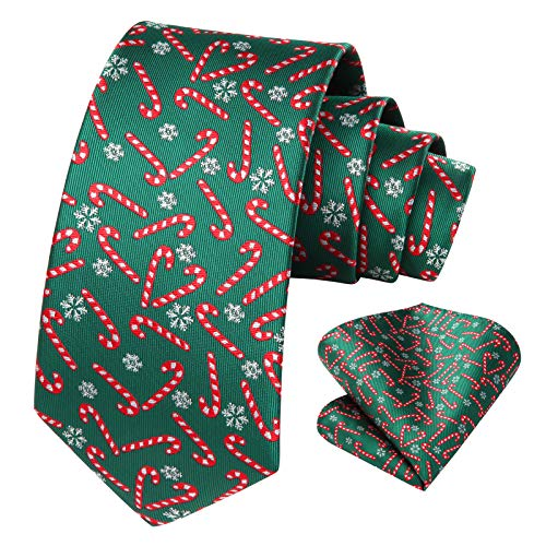HISDERN Men's Christmas Tie Candy Woven Party Necktie & Pocket Square Set