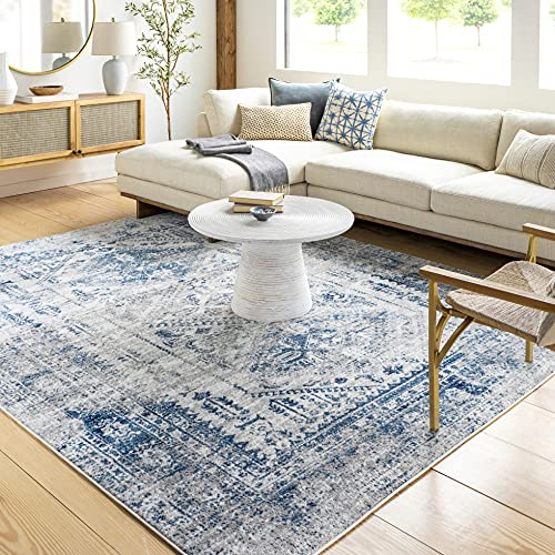 White and blue area rug