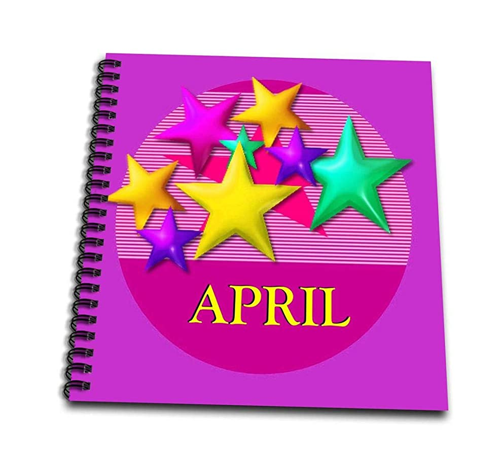 3dRose db_53008_1 Vibrant Colored Stars on a Pink Background with The Name April-Drawing Book, 8 by 8