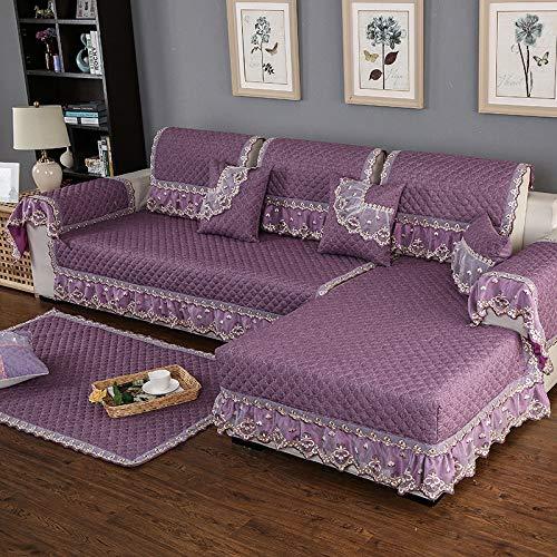 BASA Tuin meubelhoes, linnen bank kussensloop handdoek, eenvoudige stofbescherming meubels (60 + 15 skirt) * 90cm Paars