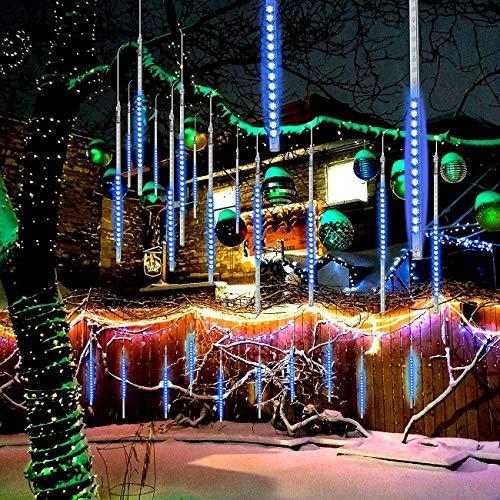 Meteorschauer Lichterkette, EEIEER Wasserdichte LED Balkon Lichterkette Eiszapfen Schnee Herbst String Cascading Fairy Lights für Party, Urlaub, Weihnachtsbaum, Garten (Blau-10 Tubes/540LEDs)