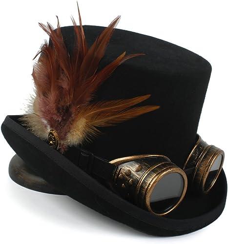 gran selección y entrega rápida DuoShengZhTG Sombrero de Fiesta de té de Moda Sombrero Sombrero Sombrero de Copa Steampunk 4 Tamaño mujeres de Lana Sombrero de mujer Superior de Fedora (Color   negro, tamaño   57cm)  bienvenido a orden