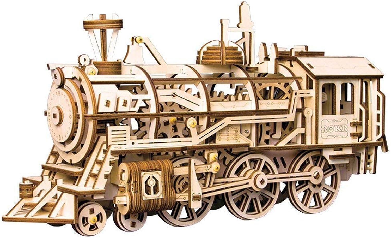 XJ0526 3D Holzpuzzle, Mechanisches Zugmodell, DIY Assembled Woodencraft Toy Set 8 Jahre alt + Kinder-Puzzle Freizeit-Spielzeug (Lokomotive) B07KV1YGXB Neuheit  | Sehr gelobt und vom Publikum der Verbraucher geschätzt