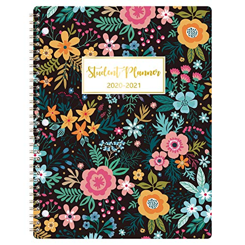 2020-2021 Student Planner - Academic Weekly & Monthly Planner with Marked Tabs, 8.5' x 11', July 2020 - June 2021, Twin-Wire Binding, Ruled Pages, Map & Time Zone, Kinds of Stickers, Blooming Flowers
