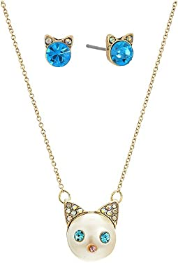Betsey Johnson - Blue and Gold Pearl Cat Pendant Set