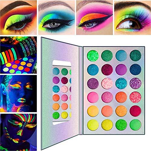 SOWLFE Juego de Paleta de Sombras de Ojos arcoíris de 24 Colores, Juego de Maquillaje de neón para Fiesta de Halloween, Polvo Ultra pigmentado, Colores Vibrantes Brillantes, Juego de cosméticos