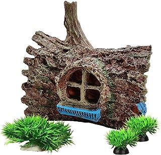 Fish Tank Decorations Aquarium Decoration Ornaments Accessories Fish Hides Treehouse/Aquatic Plants Set (Pine Tree Set)