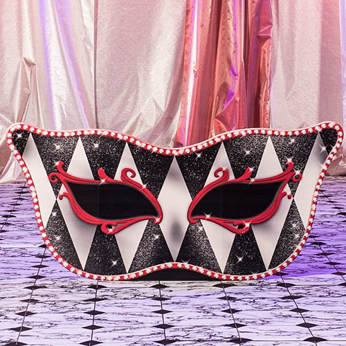 Red Harlequin Masquerade Mask Mardi Gras Standee Party Prop Standup Photo Booth Prop Background Backdrop Party Decoration Decor Scene Setter Cardboard Cutout
