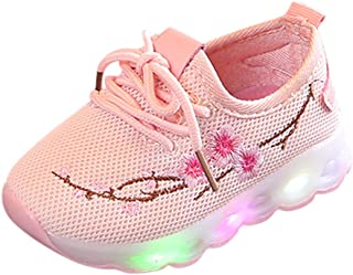 Kasien Baby Shoes, Kids Baby Boys Girls Embroidery Flower Sport Running LED Luminous Shoes Sneakers