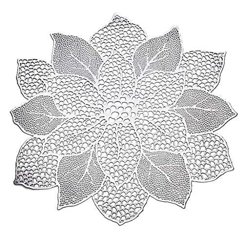 YFairy Set de table – 47 x 44 cm creux en forme de fleur de lotus pour salle à manger Isolation métallisée Dessous de verre en PVC 3 couleurs Multicolore