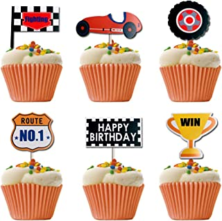 Race Car Cupcake Toppers, Win, Trophy, Race Car Birthday Party or Baby Shower 24 Counts By Soccerene