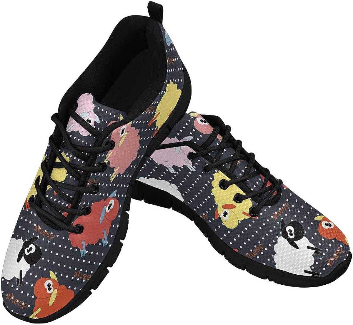 INTERESTPRINT Cute Sheep Pattern Women's Athletic Walking Shoes Breathe Comfort Mesh