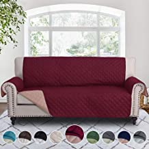 RHF Reversible Sofa Cover, Couch Covers for 3 Cushion Couch, Couch Covers for Sofa, Couch Cover, Sofa Covers for Living Room,Couch Covers for Dogs, Sofa Slipcover,Couch Protector(Sofa:Merlot/Tan)