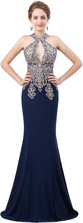 Lavaring Women's Crisscross Halter Neck Prom Dress Long Lace Applique Mermaid Gown