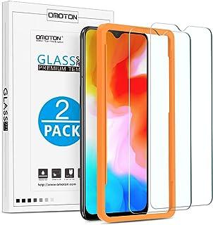 OMOTON Protector Pantalla OnePlus 6T/OnePlus 7 Cristal Templado OnePlus 6T/ OnePlus 7, 2.5D Borde, 9H Dureza, Anti-arañazos, Anti Burbujas, con Marco Guía [2 Piezas]