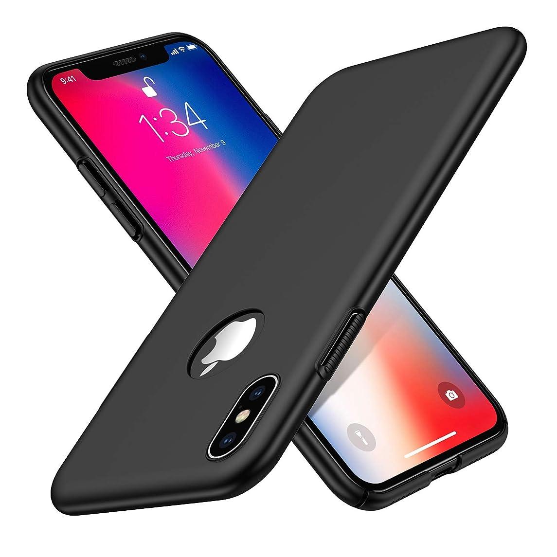 テロマダムダイジェストWoqatac iPhone XS ケース iPhone X ケース iPhone XS/X カバー PC素材 指紋防 ケース 耐衝撃カバー 擦り傷防止 軽量 超薄型Qi充電対応 (iPhone XS/X ケース, ブラック)