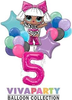 LOL Round Balloon Bouquet 18 pc, 5th Birthday, Hot Pink Number 5 Jumbo Balloon | Viva Party Balloon Collection
