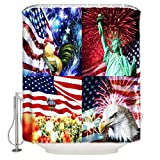 ZOE GARDEN Shower Curtain Set with Hook 66' x 72', American Flag Rooster Statue of Liberty Bald Eagle and Balloon - Bathroom Decor Waterproof Polyester Fabric Bathroom Accessories Bath Curtain