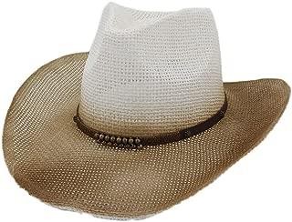 XinLin Du Men Women Western Cowboy Hat Couple Spray Paint Cowboy Straw Sun Hat Outdoor Seaside Copper Pendant Fashion Beach Hat