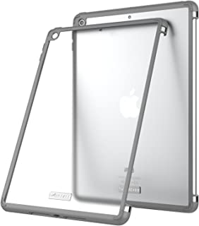 iPad 9.7 Case, Taiersi Ultra-Thin Shockproof Impact Resistant Protective Cover Flexible Soft TPU Case with Non-Slip Rubber Mats for Apple iPad 9.7 inch (2018/2017 Release) - Gray+Frosted White
