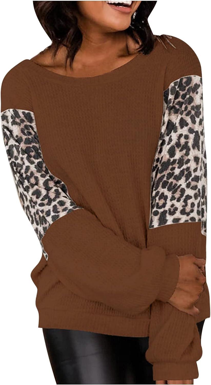 Women's O-Neck Leopard Print Long Sleeve Casual Tops T-Shirt Patchwork Plus Size Blouse Beach Work Sweater