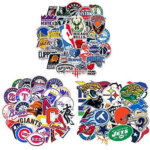 Waterproof Vinyl Stickers Decals Pack 93Pcs - 32 Pcs NFL Football 30 Pcs MLB Baseball 31 Pcs NBA Basketball Teams Logo Sticker for Hydroflasks Laptops Water Bottle Kids Teens Boys Toddlers Adults