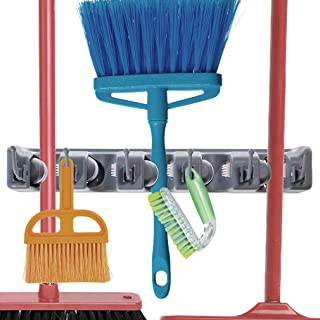 Broom Holder - Household Accessory Rack - Holds Mops, Brooms, Rakes or Gardening Tools - Hooks for Hanging Keys, Jackets, Umbrellas, Gloves and Hats