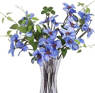 4Pcs Artificial Flowers,  FENGRUIL 27.5 '' Silk Dogwood  Flowers Bouquet for Home Office Party Wedding Decoration (Blue)