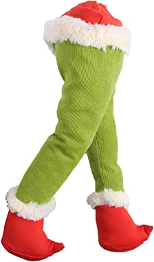IKevan 15.7 Inches Christmas Thief Stole Christmas Grinch Burlap Pose-able Plush Legs for Christmas Decorations Stuffed Legs